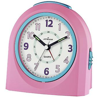 ATRIUM Alarm Clock Analog Quartz Pink/Blue A921-17 without ticking with light and snooze