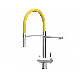 3way Kitchen Filter Mixer 100% Stainless Steel, 360° Turn Colored Movable Spout, 2 Jets Removable Spray, Brushed Finish - Yellow - 427