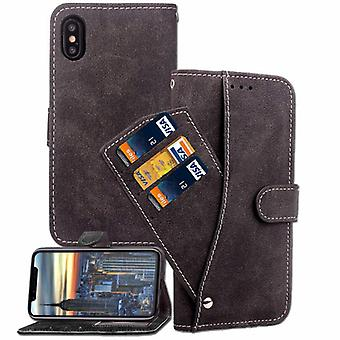 IPhone 6 + / 6S + Leather Flip Wallet Case Scrub Case Black