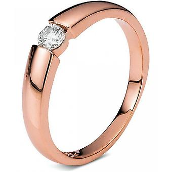 Diamond ring - 14K 585/- red gold - 0.17 ct. Size 54