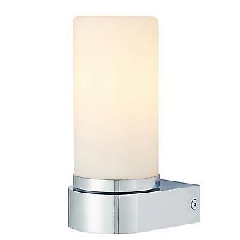 Endon Tal 1 valo kylpy huone seinä valaisin kromi levy & valkoinen lasi IP44 79921