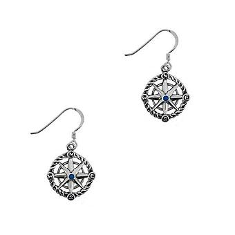 Outlander Inspired Scottish Outlander 'Voyager' Inspired Nautical Compass Drop Style Pair Of Earrings - Sapphire Colour Stone