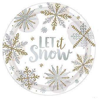 Amscan lassen Sie es Schnee Papierplatten (Packung von 8)
