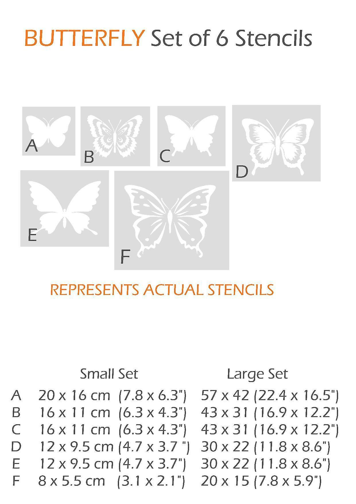 Set of 6 butterfly stencils