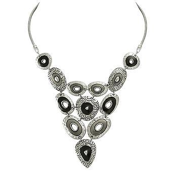 Eternal Collection Cadenza svart emalje sølv tone bib halskjede