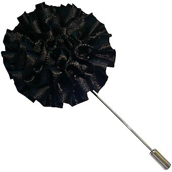 Bassin and Brown Flower Lapel Pin - Black