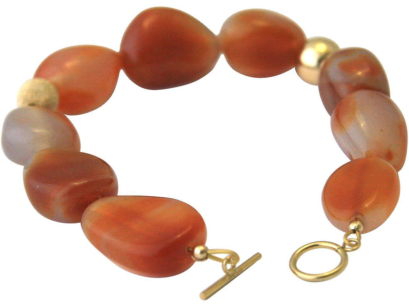 Gemshine Armband mit rotbraunen Karneol Edelsteinen in 925 Silber oder vergoldet
