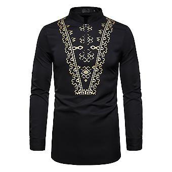 Alle Themen Men's Casual Ethnischen Stil Colorblocked vergoldet gemusterte Langarm Shirt
