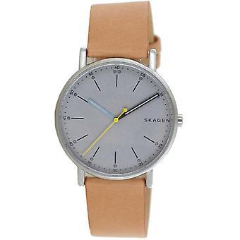 Skagen Men's Watch Wristwatch Assinatura Couro Marrom SKW6373