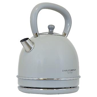 Charles Bentley 3000W 1.7 Litre Light Grey Dome Kettle Fast Boil 360 Swivel Base