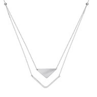 925 Sterling Silver Rhodium Plated Duo Side ways Stability and Balance Adjustable Necklace 18 Inch Jewelry Gifts for Wom