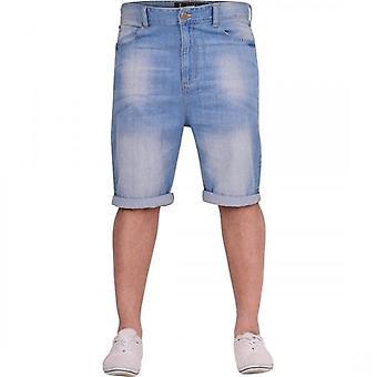 Crosshatch Mens Light Blue Denim Jean Short Roll Up Spring Summer Shorts