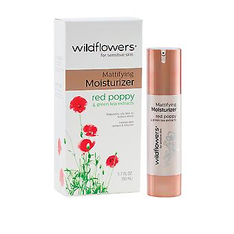 Wildflowers Skincare Sensitive Skin Moisturiser Mattifying 50ml Red Poppy and Green Tea