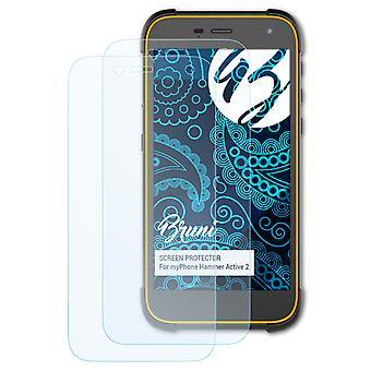 Bruni 2x Schutzfolie kompatibel mit myPhone Hammer Active 2 Folie