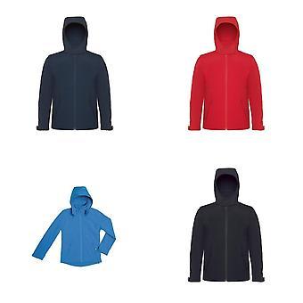 B & C детей/дети с капюшоном Куртка Softshell полный Zip