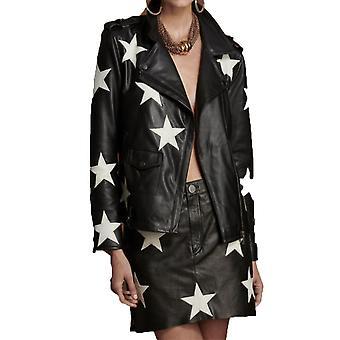 Oneteaspoon 22416blackwhite Women's White/black Leather Outerwear Jacket