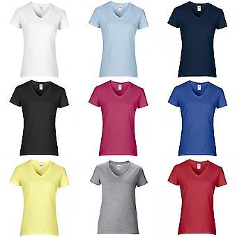 Gildan mujeres/damas Premium de algodón con cuello en v camiseta