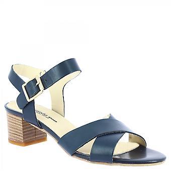 Leonardo Shoes Women's handgemaakte lage hak sandalen blauw kalf sleer gekruiste banden