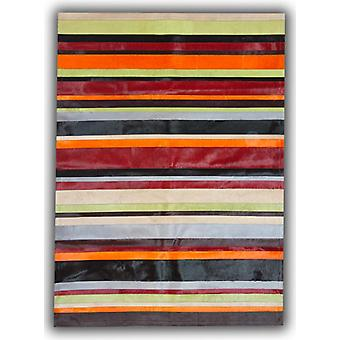 Rugs -Patchwork Leather Cowhide - Multi Colour Horizontal Stripes