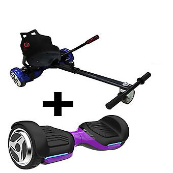Black GoRacer Hoverkart with 6.5 G PRO Purple 5.0 Bluetooth Hoverboard Segboard , Segway