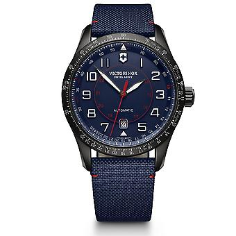 Victorinox Swiss Army Airboss Mechanical Blue Dial Blue Fabric Strap Men's Watch 241820