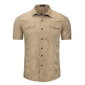 Allthemen الرجال & apos;ق لون صلب لابيل قصير الأكمام تصميم قميص
