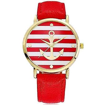 Ahoy! anchor watch in red and white stripes