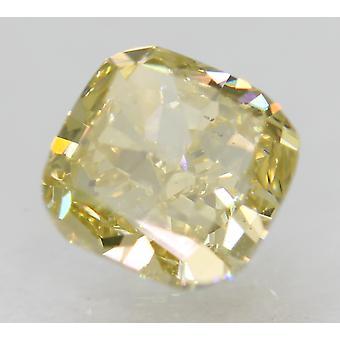 Cert 1.00 Carat Fancy Yellow VS1 Cushion Natural Loose Diamond 5.48x5.39mm