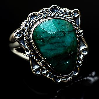 Emerald Ring Size 8.5 (925 Sterling Silver)  - Handmade Boho Vintage Jewelry RING11708