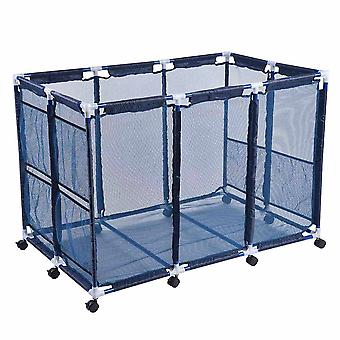 "Yescom 48""x30""x34"" Mesh Pool Storage Bin XX-Large Pool Storage Organizer Rolling Cart for Pool Toys Float Container Blue"