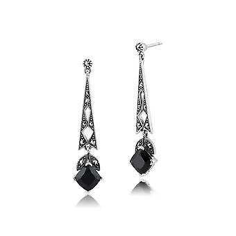 Art Deco Style Cushion Black Spinel & Marcasite Drop Earrings in 925 Sterling Silver 214E810304925