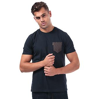 Men's Ben Sherman Geo Floral Printed Pocket T-Shirt in Blue
