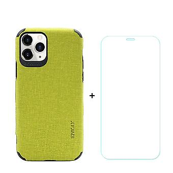 Voor iPhone 11 Pro Max Case Denim Texture Groen en Tempered Glass Screen Protector