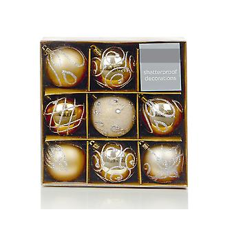 9 Champagne Gold 6cm Embellished Shatterproof Christmas Tree Bauble Decorations