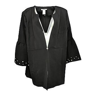 Masseys Women's Plus Suit Jacket/Blazer Faux Pearl-Embellished Black
