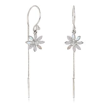 ADEN 925 Sterling Silver White Mother-of-pearl Flower Earrings (id 4268)