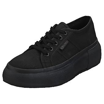 Superga 2287 Cotw Womens Platform Trainers in Black