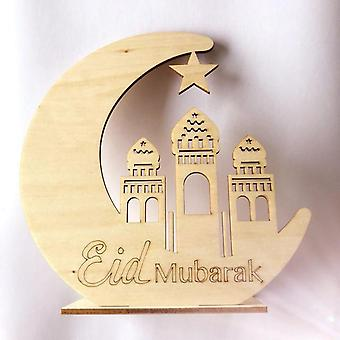 Wooden Moon Led Candles Light Ramadan Eid Mubarak Decorations For Home