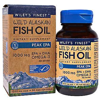 Wiley's Finest, Wild Alaskan Fish Oil, Peak EPA, 1,250 mg, 30 Fish Softgels
