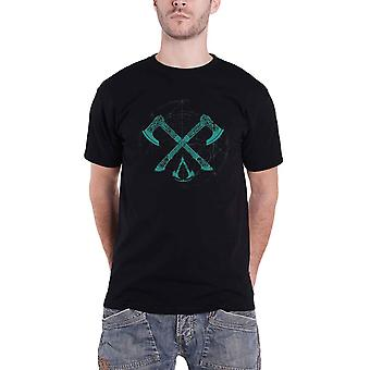 Assassins Creed Valhalla T Shirt Crossed Axes Logo new Official Mens Black