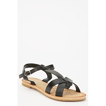 Faux lederen T-strap sandalen
