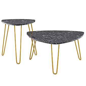 Homemiyn Marble Iron Foot Coffee Table Side Table Set Of 2