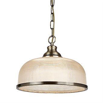Searchlight Bistro - 1 ljus kupol takhänge Vit, Antik mässing, Glas, E27