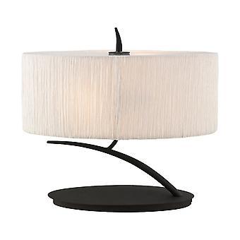 inspirert mantra - eve - bordlampe 2 lys e27 liten, antrasitt med hvit oval skygge