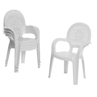 Resol 4 Piece Mini Kids Garden Chair Set - Plastic Outdoor Play Bedroom Children's Furniture - White