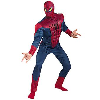 Spiderman Deluxe The Amazing Spider-Man Marvel Superhero Men Costume Plus XXL