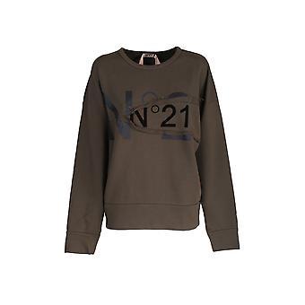 N°21 E03263135364 Dames's Green Cotton Sweatshirt