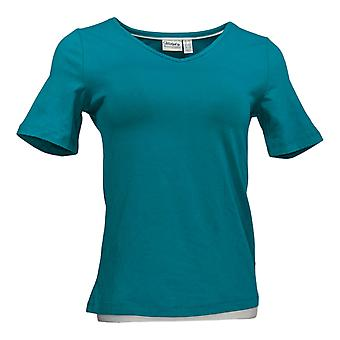 Vrouwen met Controle Dames's Top Essentials V-Neck T-Shirt Blue A306793