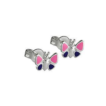Earrings Purple Butterflies Silver 925