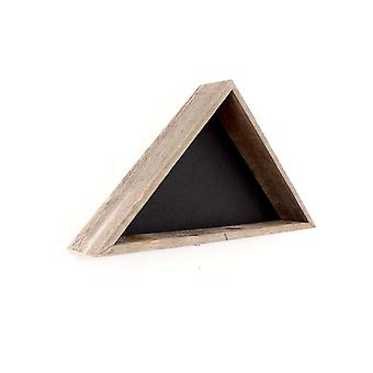 Rustic Weathered Grey Reclaimed Wood Triangle Wooden Display Flag Case